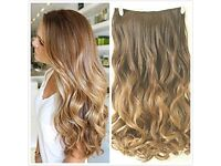 "22"" Full Head Clip in Hair Extensions Ombre Wavy Curly Dip Dye Chocolate brown to dark blonde"