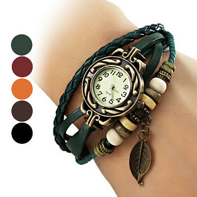 New Fabulous Womens Leaf Style Leather Band Quartz Analog Bracelet Watch Sale