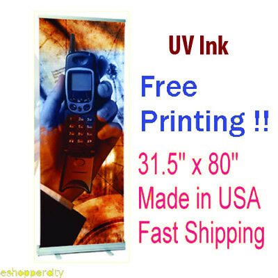 Uv Resistance Retractable Roll Up Banner 31.5 X 80 Stand Trade Show Marketing