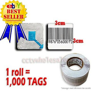 1000 Pcs Checkpoint Barcode Soft Label Tag 8.2 3x3 Cm