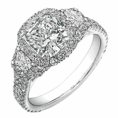 GIA Certified Cushion, Round & Trapezoid Cut Diamond Engagement Ring 2.89CT 18k