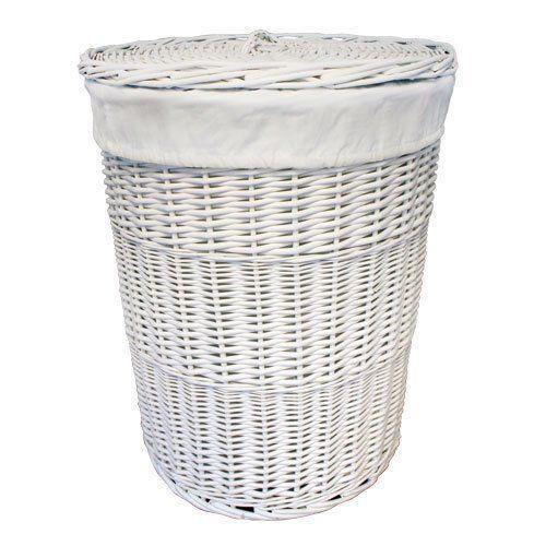 Antique Wash Wicker Lined Storage Basket: Rectangle Wicker Basket