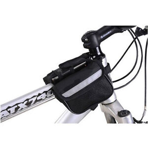 MOUNTAIN-BIKE-BICYCLE-DOUBLE-PANNIER-FRONT-FRAME-TUBE-BAG-MESH-PHONE-CASE-KEYS