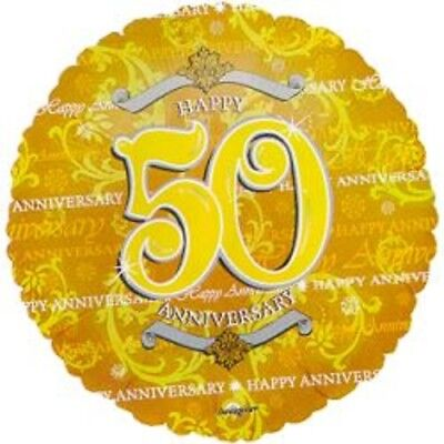(3) Three- 50th. Wedding Anniversary Mylar Balloons- Choice #1