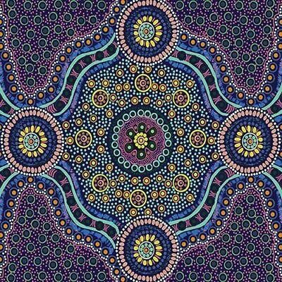 Australian Aboriginal fabric, Wild Bush Flowers Purple Sold by the Yard by Layla