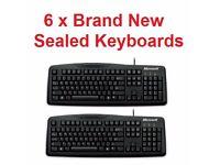 ** BARGAIN ** 6 x Brand New Sealed Original Microsoft Wired Keyboard 200 - UK Layout