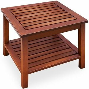 Side coffee table wooden garden bistro outdoor shelf solid for Low coffee table wood