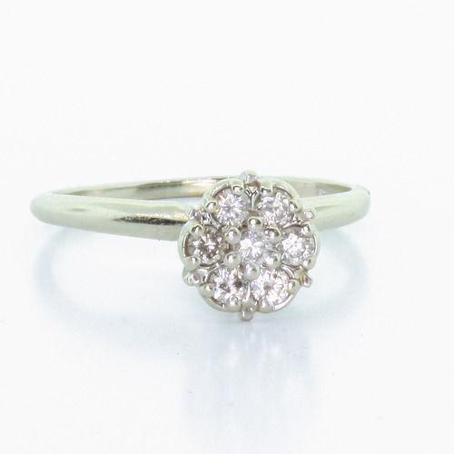 Vintage White Gold Cluster Diamond Ring Ebay