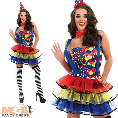 Sexy Circus Clown Ladies Fun Carnival Fancy Dress Costume Outfit + Hat UK 8-30