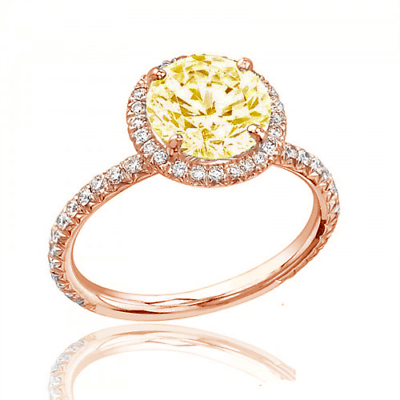 Estate Style Diamond Engagement Ring GIA Certified 3.25 CT Round Fancy Yellow 1