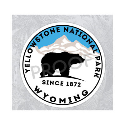 "Yellowstone National Park Wyoming Sticker Decal 3"" x 3"" Nature Hiking Bear"
