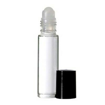 72 Bottles PLAIN 1/3 oz 10ml Clear Glass Roll on W/BLACK Cap