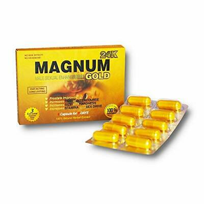 Magnum Gold 24k 10 Capsules, Natural Male Energy Supplement 10 Gold Capsules