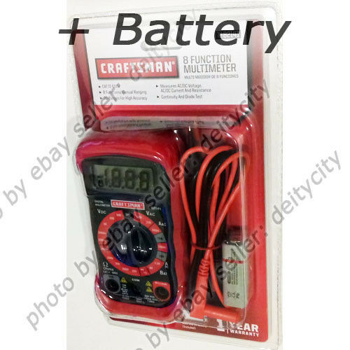 Craftsman 8 Function Digital Multimeter AC DC Volt Ohms Tester LCD + Battery NEW