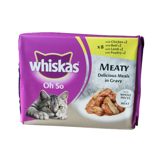 8 x Whiskas Complete Meat Cat Treats Oh So Meaty 5 x 8 x 85g OOD