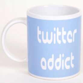 Twitter Addict Pale Blue Ceramic Mug in Gift Box by Novelty Mug.