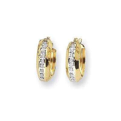 14k Yellow Gold Round Diamond Huggy Diamond Fascination Hinged Hoop Earrings ()