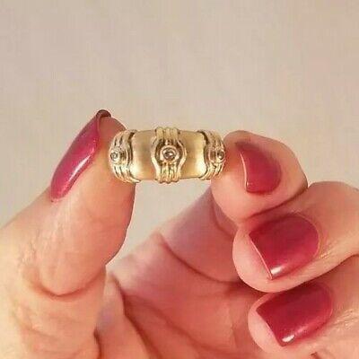 14K/10K Yellow Gold Satin Finish Three Diamond Ring UNIQUE!