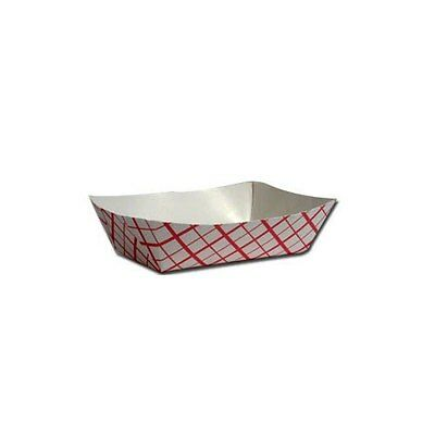 50 Paper Red Check 5 Lb. Food Tray Boat