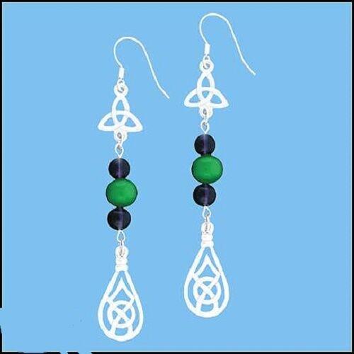 Pewter Celtic Knotwork & Bead Earrings