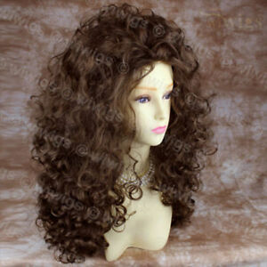 AMAZING-SEXY-Wild-Untamed-Long-Curly-Wig-Light-Brown-Ladies-Wigs-gift-earrings