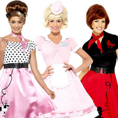 50 S Outfits (50s Ladies Fancy Dress 1950s Rock n Roll Retro Womens Adults Costume Outfits New)