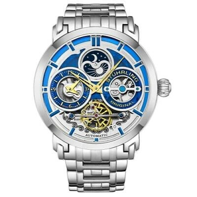 - Stuhrling 371B 02 Luciano Automatic Skeleton Dual Time AM/PM Bracelet Mens Watch
