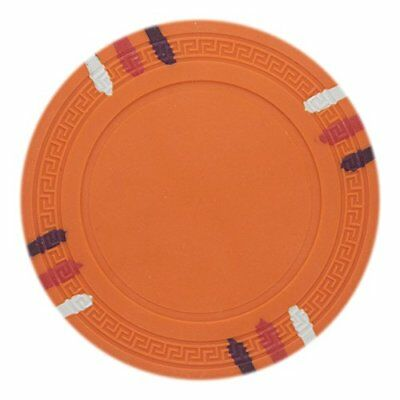 - 12 Stripe Non-Denominated 13.5g Poker Chips, Orange Clay Composite, 50-pack
