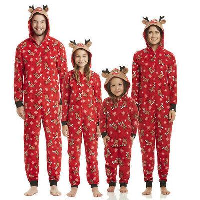 Family Christmas Pajamas Sets (Winter Family Matching Deer Printing Christmas Hoodie 3D Deer Ears Pajamas )