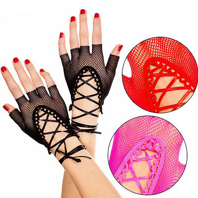 Punk Goth Sheer Lace Up Fishnet Wrist Length Fingerless Gloves Arm Warmers Raver](Fishnet Arm Warmers)