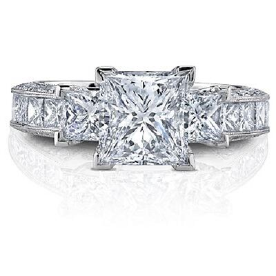 2.40 Ct. Gorgeous 3-Stone Princess Cut Diamond Engagement Ring G, VS1 GIA 14k