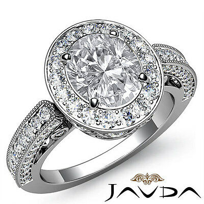 2 ct Oval Diamond Engagement Wedding 14k White Gold I VS2 GIA Womens Halo Ring