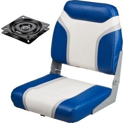 Boat Seat & Swivel Blue Vinyl Folding Low Back Boating Fishing & Pontoon Seats