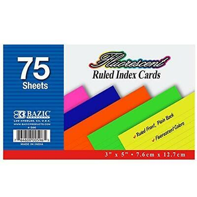 3 Pk. 3 X 5 Bazic Ruled Fluorescent Colored Index Card