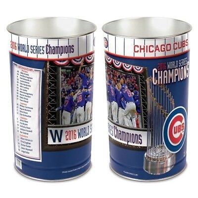 CHICAGO CUBS ~ (1) 2016 World Series Champions 15 Inch Wastebasket Trash (15 Inch Wastebasket Trash Can)