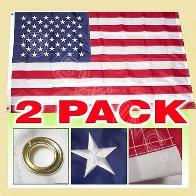 3x5 Ft American Nylon Deluxe Embroidered Stars Sewn Stripes Flag - 2 pack
