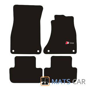 Audi A4 2008- Tailored Car Floor Mats Black + SLINE LOGO
