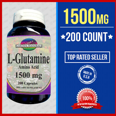 L Glutamine Amino Acid 200 Caps 1000mg +500=1500 Endurance,