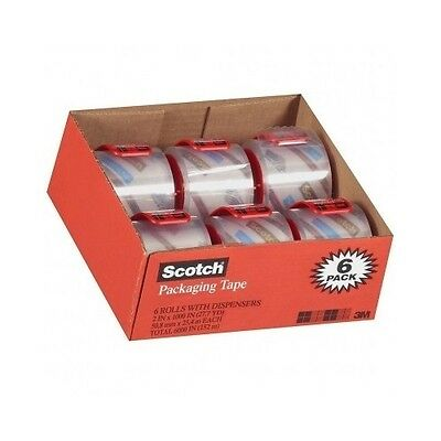 3m Scotch Tape Clear Shipping Packaging Packing Heavy Duty 6 Rolls Wdispensers