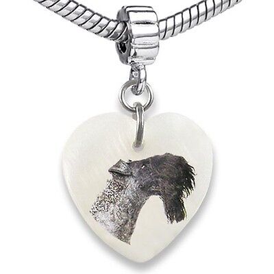 (Kerry Blue Terrier Heart Mother Of Pearl European Charm Bead For Bracelet EBS57)