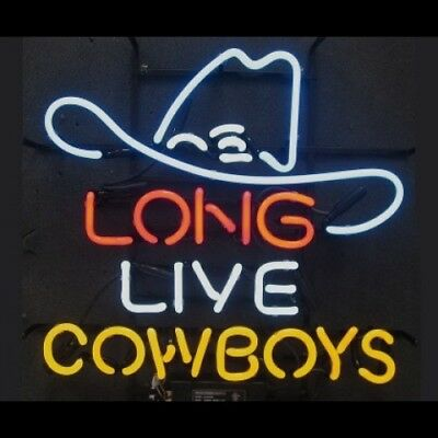 New Long Live Cowboys Hat Bar Logo Neon Light Sign 20