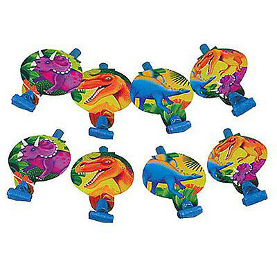 DINOSAUR PREHISTORIC PARTY BLOWOUTS (8) ~ Birthday Supplies Favors Triceratops - Prehistoric Party Supplies