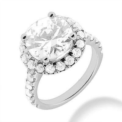 2.82 carat 1.54 ct center Round Diamond Solitaire 14k White Gold Ring GIA K VS2