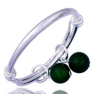 2X Silver Plated Bangle Bracelets/Anklets for Baby/Infant/Adjustable/Green Bells for sale  Gurnee