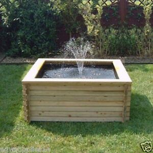 60 gallon square wooden pond liner pump garden pool for Fountain pond liners