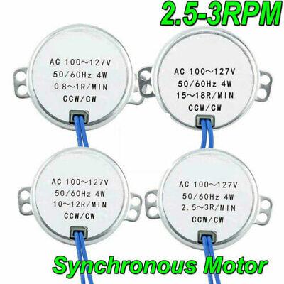 Ac 100-127v 4w Ccwcw Direction 5060hz 2.5-3rpm Electric Synchronous Motor Usa