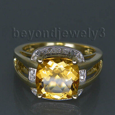 Jewelry Sets Cushion 9mm Solid 14k Yellow Gold Diamonds Citrine Engagement Ring
