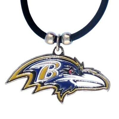 Baltimore Ravens Necklace Black Rubber Cord Large Metal Pendant NFL Football