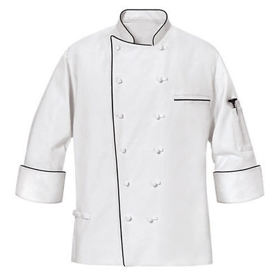 New Mens Master White Chef Coat With Black Piping Long Sleeves Size Xl4xl