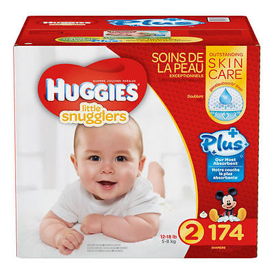 Huggies Little Snugglers Plus Diapers Size 2 174 Ct SEALED!!!